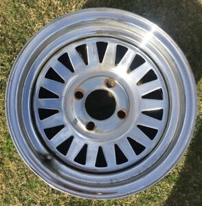 Vintage Chrome Wheel 14x6 4x4 5 Slotted Triangle Mustang Pinto Cougar Usa