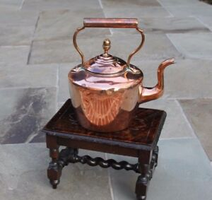 Antique English Copper Tea Kettle Teapot Coffee Pot Water Kettle With Lid