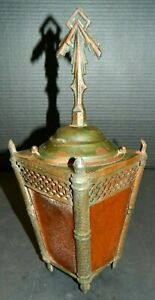 Antique Victorian Copper Amber Slag Glass Sconce Shade Lamp Very Good Cond