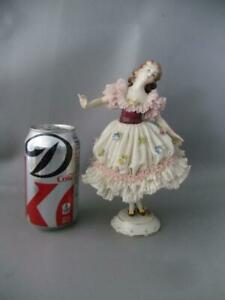 Antique Vtg Dresden Aelteste Volkstedter Lace Porcelain Lady Figurine Doll 8