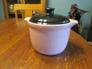 Vintage Pink With Black Lid Stoneware Pottery Crock 6 1 2 Tall