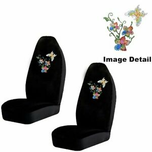 Flying Butterfly W Flowers Crystal Studded Rhinestone Seat Covers Pair