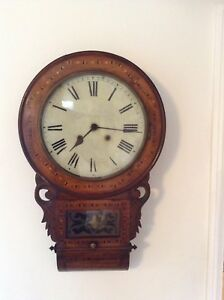 Antique American Inlaid Walnut Drop Dial Wall Clock Rare Collectable