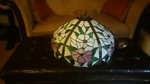 Vintage Hanging Lamp Swag Stained Glass Floral Roses Tiffany Style 20 Wide