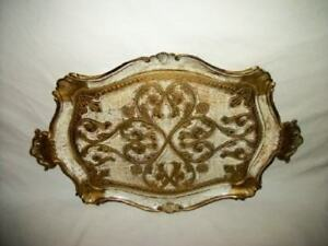 Italian Florentine White Gilt Handled Tray Mid Century Regency Glam Paris Apt
