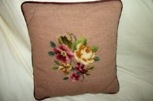 Vintage Roses Needlepoint Pillow Pink Chic Shabby Cottage Sateen Back