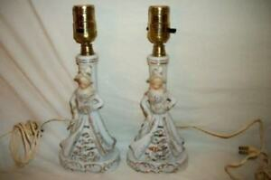 Vintage Victorian Ladies Gilt Spaghetti Boudoir Lamps Japan Chic Shabby Cottage