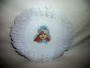 Antique Victorian Portrait Cabinet Plate Precious Little Girl Ornate Porcelain