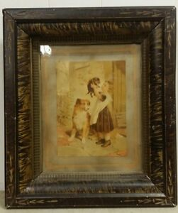 Sweet Victorian Print Of A Girl Her Dogs In Art Nouveau Faux Painted Frame