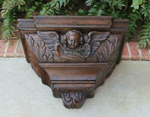 Antique French Oak Large Carved Gothic Cherub Corbel Wall Shelf Bracket 19th C