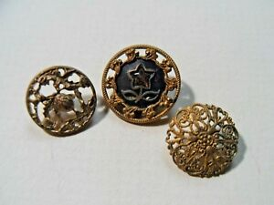 Antique Victorian Cutwork Filagree Button Lot 5 8 And 7 16 Diameter