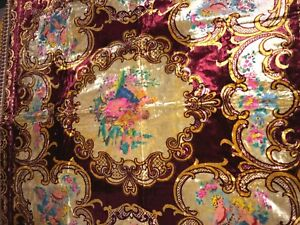 Rare Vintage Italian Hand Painted Tapestry Coverlet Bedspread