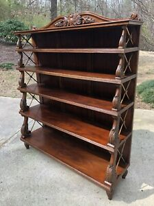 Maitland Smith Bookcase With Antique Brass Cross Hatch Ends