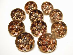 Set Of 10 Victorian Antique Red Tinted Brass Cut Steel Clothing Buttons