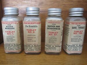 4 Boericke Runyon Tablets Bottles Homeopathic Apothecary Pharmacy Poison