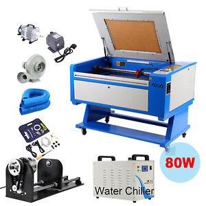 80w Co2 Laser Engraver Cutter Machine 700x500mm 3 jaw Rotary Axis Water Chiller