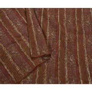 Sanskriti Antique Vintage Saree Pure Silk Hand Beaded Fabric Premium 5 Yd Sari