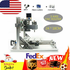 Diy Cnc 2418 Mill Router Kit Usb Desktop Wood Engraver Pcb Milling Machine Er11
