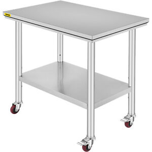 36 x24 Stainless Steel Work Table 4 Casters For Undershelf Cafeteria Silver