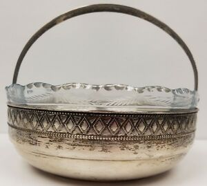 Antique Orivit Germany Silver Decorated Basket Fruit Bowl With Glass Insert