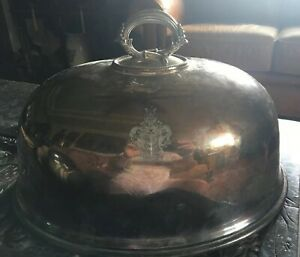 Antique English Sheffield Silver Plated Meat Dome With Heraldic Family Crest