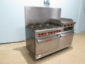 vulcan 260lc 55 Hd Commercial Gas 6 Burners Stove W griddle Ovens Salamander