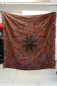 Antique Handmade Kashmir Paisley Shawl 19th C