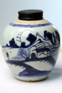 Antique Chinese Porcelain Ginger Jar Blue And White
