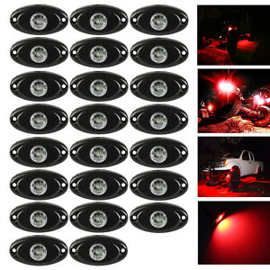 30x 2 Cree Led Rock Light Red For Jeep Offroad Truck Wrangler Under Body Lamps