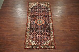 Antique 4x10 Persian Herati Malayer Hand Knotted Gallery Runner Wool Rug Carpet