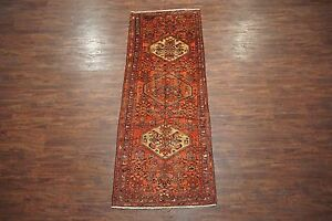 Persian Antique 4x10 Malayer Herati Gallery Runner Hand Knotted Wool Area Rug