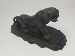 Antique Japanese Meiji Period Bronze Figure Statue Okimono Tiger Signed