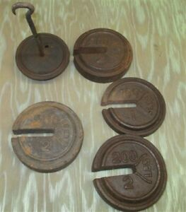 Round Hanging Small Scale Weights Vintage Metal Industrial Fairbank Morse A34