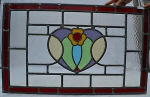 700 X 430mm Traditional Leaded Light Stained Glass Window Panel R704d