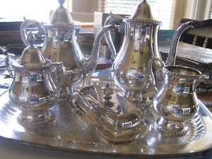 Wallace Silver Plate 5 Pc Tea Service W Tray Superb Condition