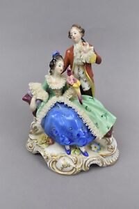 Volkstedt Muller Dresden Porcelain Lace Figurine Man Woman Bird Signed