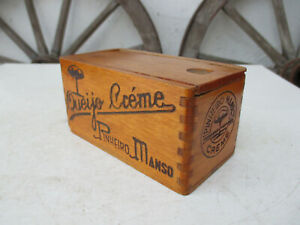 Vintage 1930s Beautiful Wood Box For Cream Cheese Embossed With Fire Name Marks