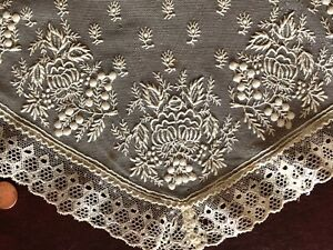 Early 19th C Embroidered Net And Point Ground Bobbin Lace Edge Fichu Collar