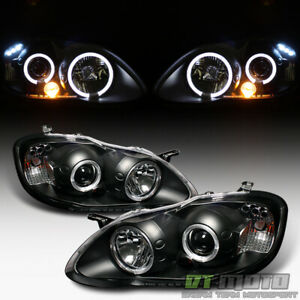 For Brand Name Hi lo Beam 2003 2008 Toyota Corolla Led Projector Blk Headlights