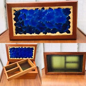Vtg Folk Art Wood Box 3 Tier Cobalt Blue Green Stained Glass Compartment Tray