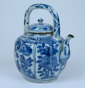 Wonderfull Chinese Blue White Kraak Porcelain Teapot Wanli Jingdezhen C 1600
