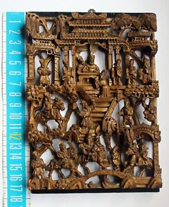 Vnt Antique Chinese Carved Gilded Wooden Composite Frieze Panel Fairy Tail