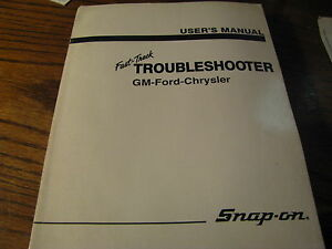 User s Manual Troubleshooter Gm Ford Chrysler Snap on da