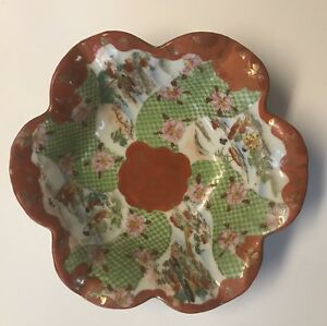 Vintage Japanese Porcelain Imari Bowl Painted Floral Scalloped Edges Dish Marked