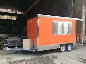 Brand New 4mx2m Concession Stand Trailer Kitchen sandwich Pre Table Ship By Sea