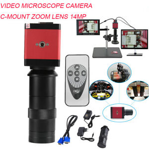 8 130x 14mp 1080p Hd Vga Digital Video Industrial Microscope Camera Set