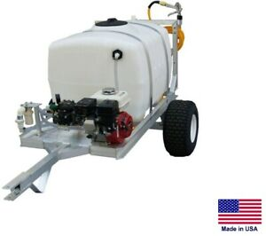 Sprayer Commercial Trailer Mounted 15 Gpm 560 Psi 9 Hp 100 Gallon Tank