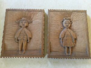 Pair Vintage Hand Carved Peruvian Wood Plaques Boy Girl Free Shipping
