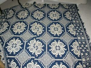 Antique Reversable Wool Woven Indigo Blue And White Coverlet 1800 S