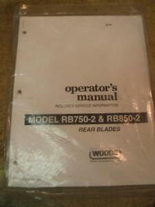 Woods Rb750 2 Rb850 2 Rear Blade 3 Point Operators Manual Parts Service